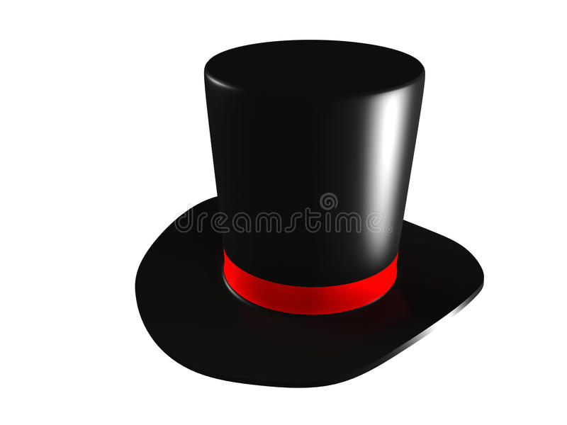 Chapéu da mágica preta em um fundo branco ilustração royalty free