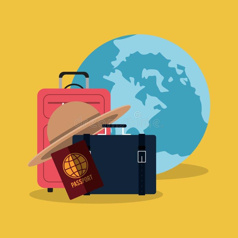 Chapéu da mala de viagem do passaporte do mundo das férias do curso ilustração do vetor