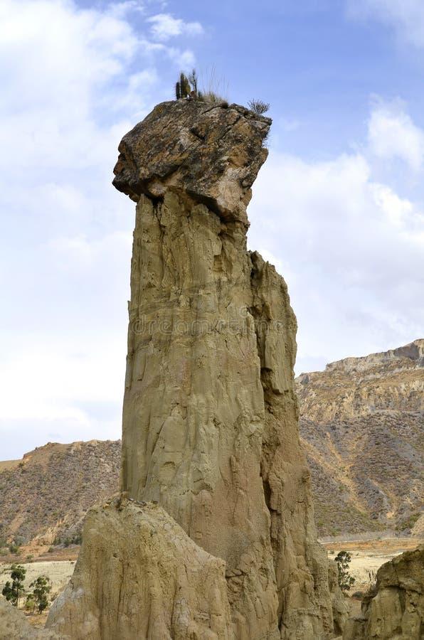 Chapéu da mulher no vale da lua no La Paz imagens de stock