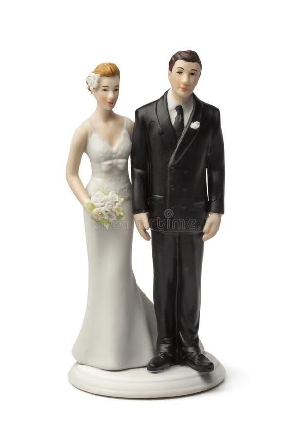 Chapéu de coco do bolo da noiva e do noivo imagens de stock royalty free