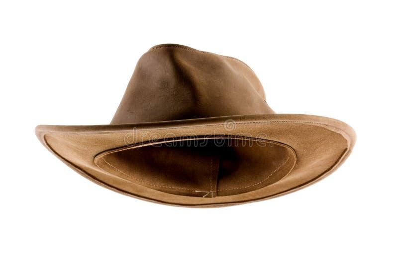 Chapéu de couro do arbusto isolado no branco imagem de stock royalty free