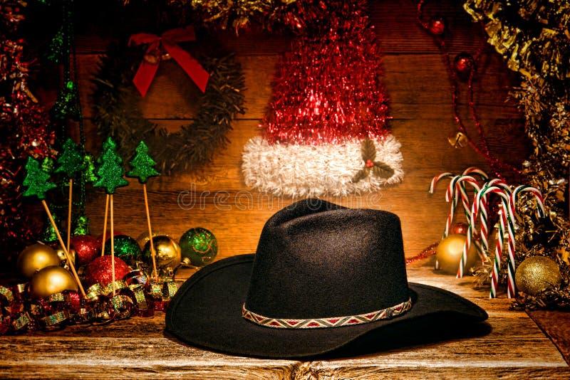 Chapéu de cowboy ocidental americano do rodeio para o cartão de Natal fotografia de stock