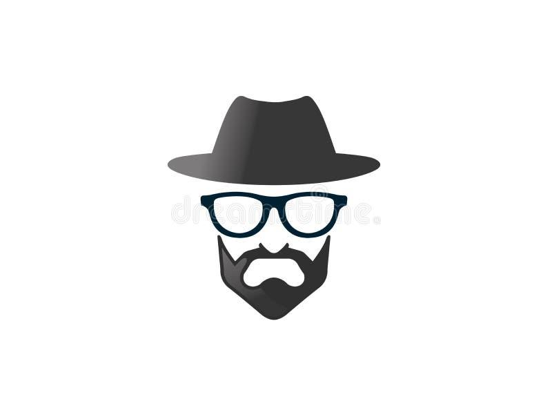 Chapéu de jogador com o baronete do und de Brille da barba e dos vidros para o logotipo ilustração do vetor