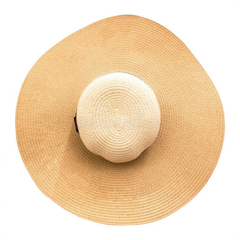 Chapéu de palha com a fita isolada no fundo branco Vista superior de chapéus da forma no estilo do verão Trajeto de grampeamento fotos de stock royalty free