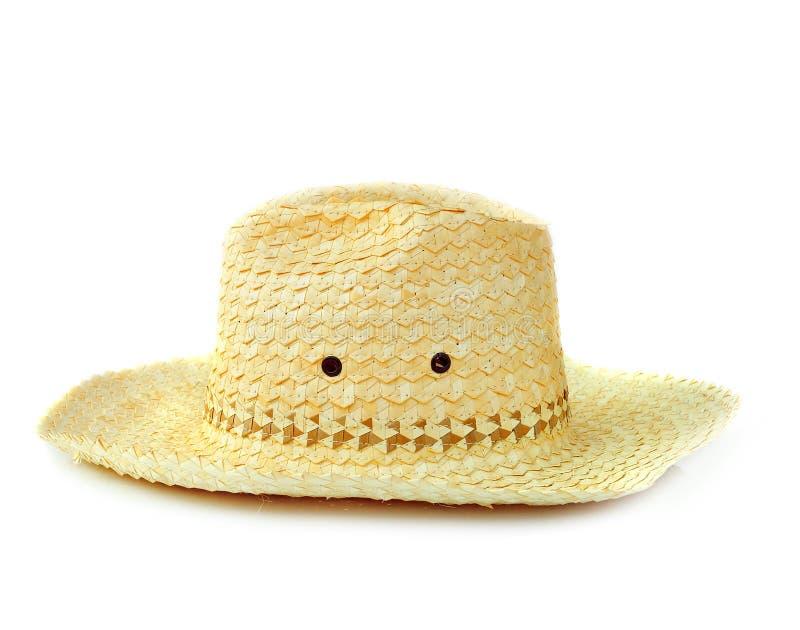 Chapéu de palha de vime amarelo fotografia de stock royalty free