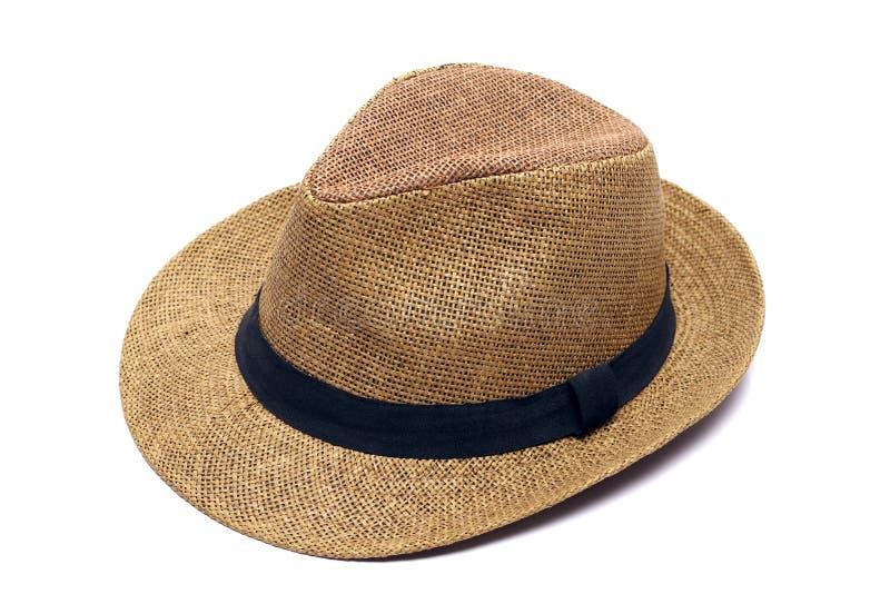 Chapéu de palha de vime amarelo fotografia de stock