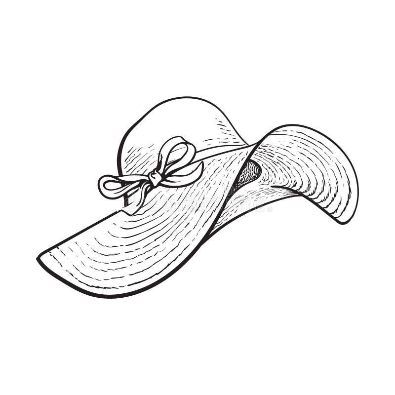 Chapéu de palha elegante com aletas largas, atributo das férias de verão ilustração do vetor