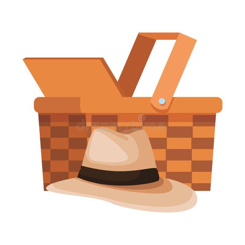 Chapéu de Panamá e cesta de vime ilustração royalty free