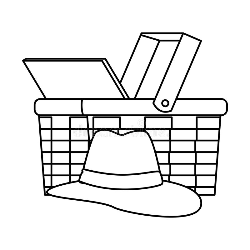 Chapéu de Panamá e cesta de vime ilustração stock