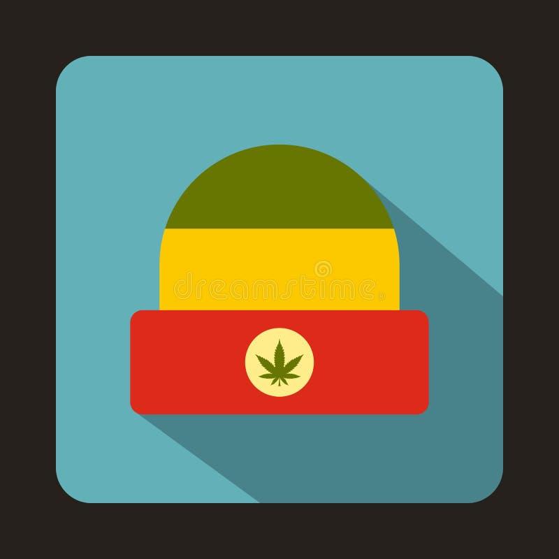 Chapéu de Rasta com ícone da folha da marijuana, estilo liso ilustração royalty free