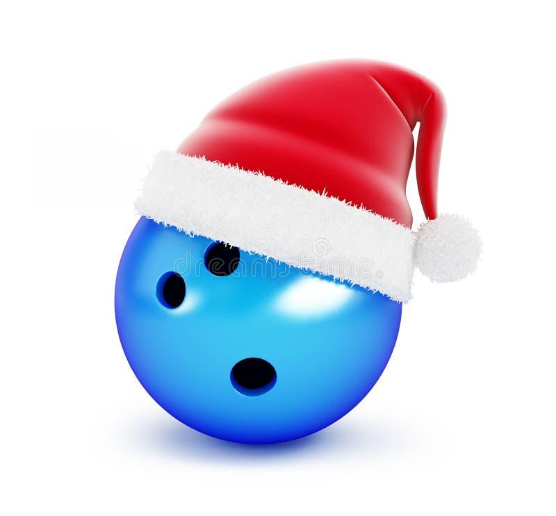 Chapéu de Santa da bola de boliches no fundo branco ilustração stock
