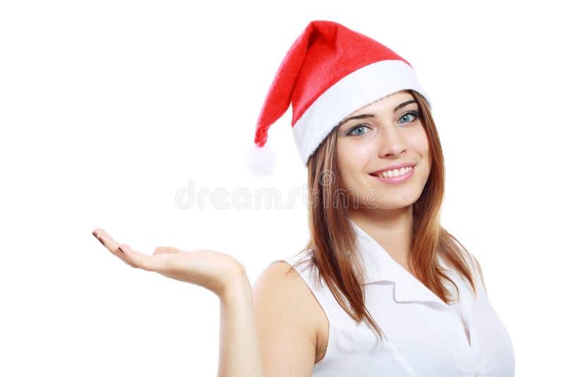 Chapéu de Santa da mulher de negócio fotografia de stock royalty free