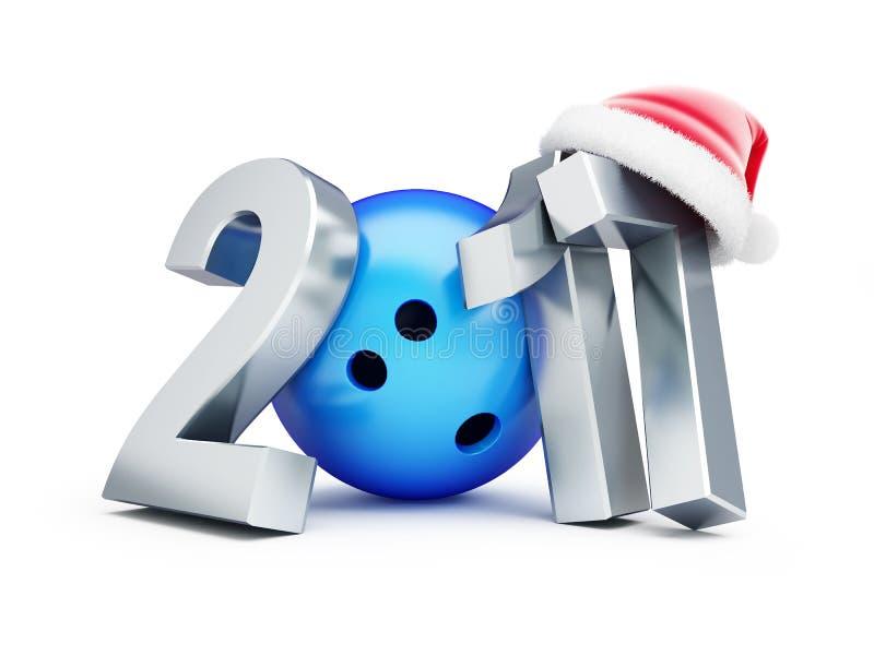 Chapéu de Santa do ano novo de bola de boliches 2017 em um fundo branco ilustração royalty free