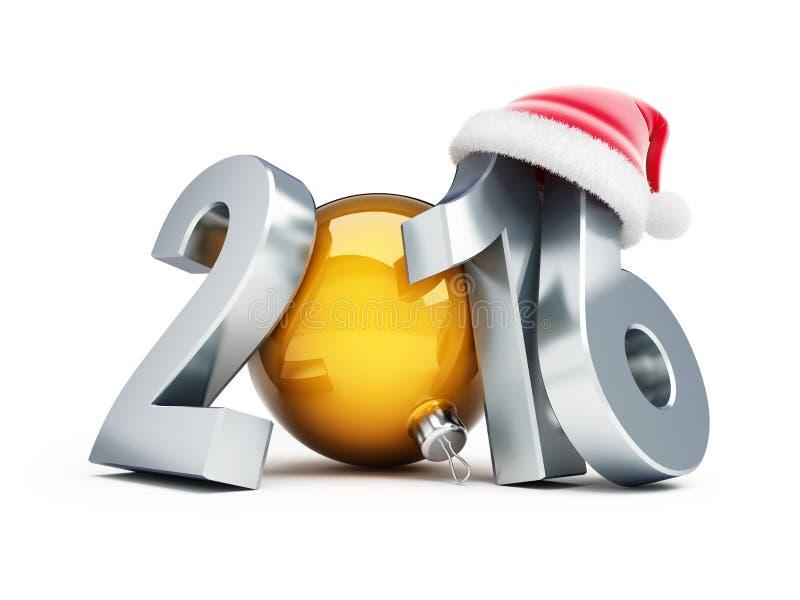 Chapéu 2016 de Santa do ano novo feliz ilustração do vetor