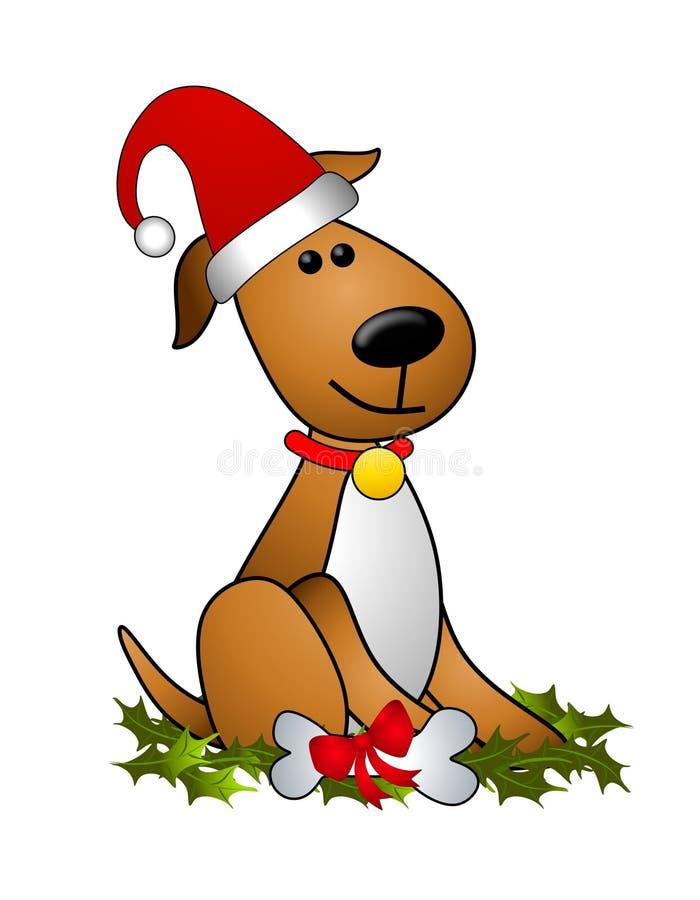 Chapéu de Santa do cão do Natal ilustração stock