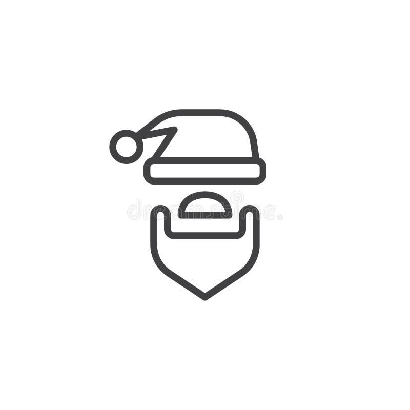 Chapéu de Santa e ícone do esboço da barba ilustração royalty free