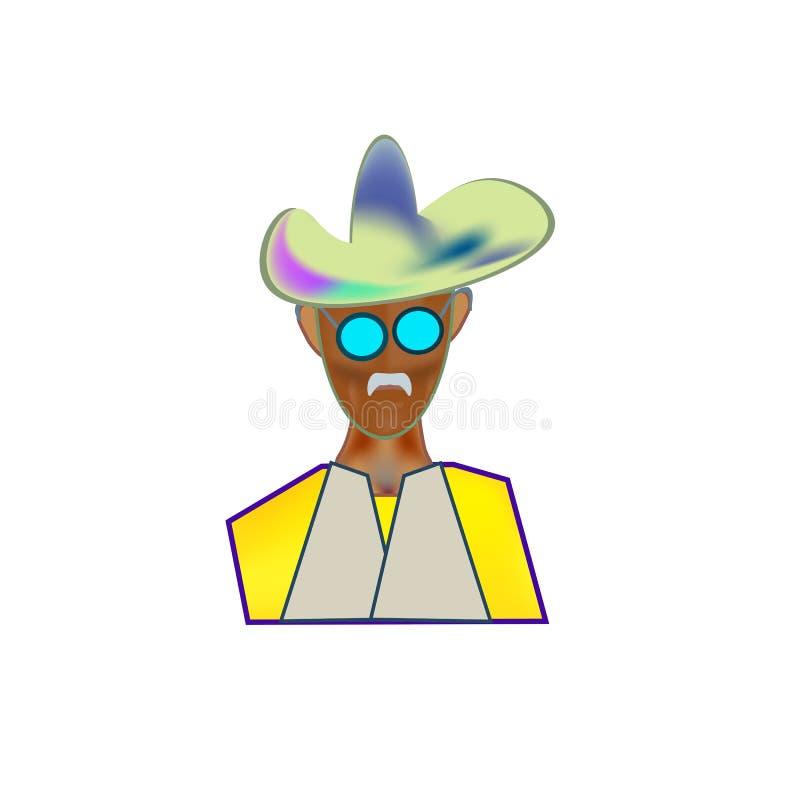 Chapéu de vaqueiro da imagem da cor do ícone imagem de stock royalty free