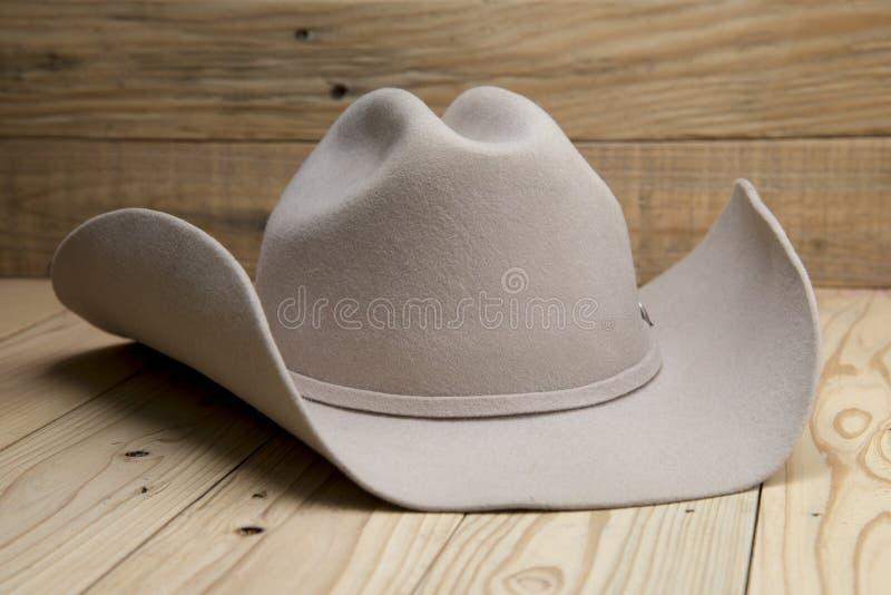 Chapéu de vaqueiro ocidental feito da pele no fundo de madeira imagens de stock
