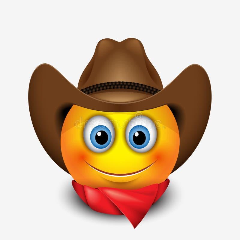 Chapéu de vaqueiro vestindo de sorriso bonito do emoticon, emoji, smiley - vector a ilustração ilustração do vetor