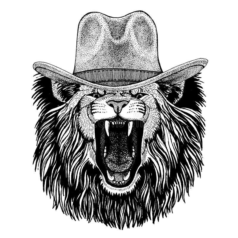 Chapéu de vaqueiro vestindo do leão Animal ocidental selvagem r ilustração do vetor