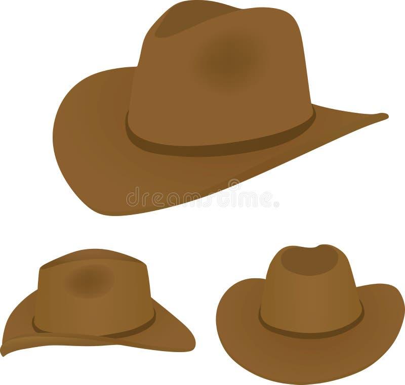Chapéu de vaqueiro, vista traseira e lateral dianteira ilustração stock