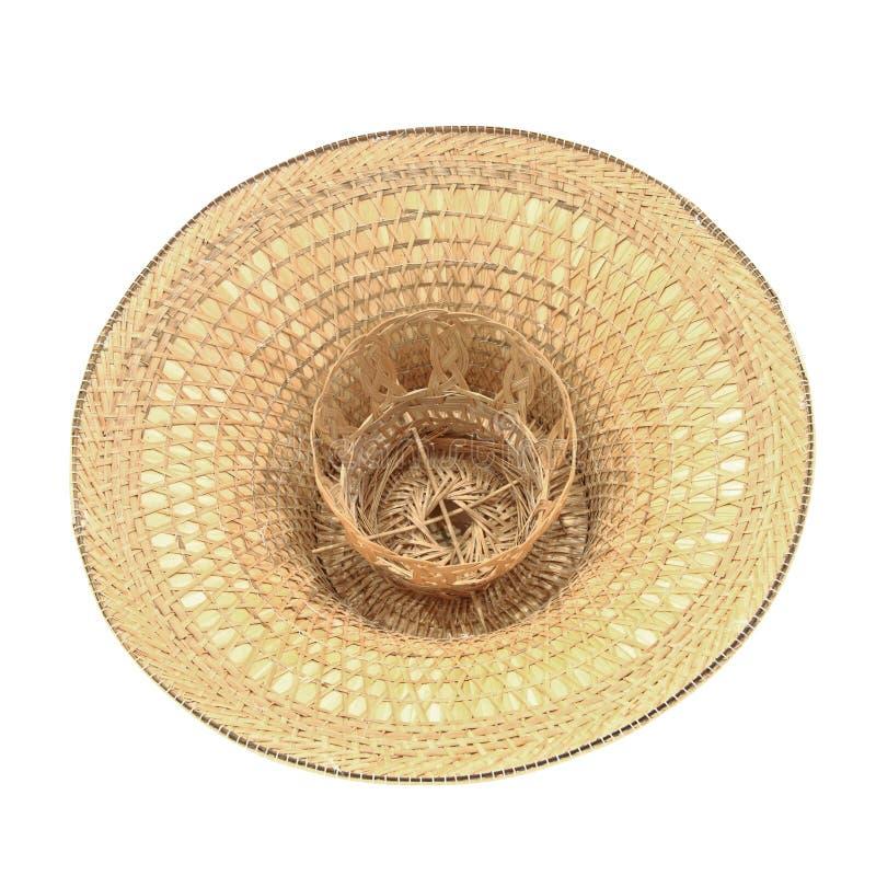 Chapéu de vime da palha isolado em um branco foto de stock