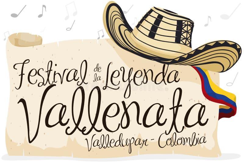 Chapéu de Vueltiao, rolo e rolo do cumprimento para o festival da legenda de Vallenato, ilustração do vetor ilustração do vetor