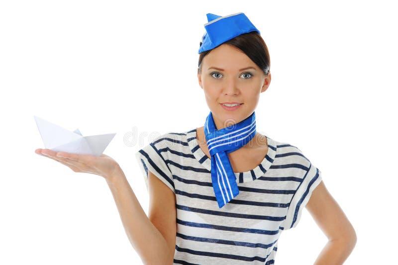 Chapéu desgastando do marinheiro da mulher bonita foto de stock royalty free