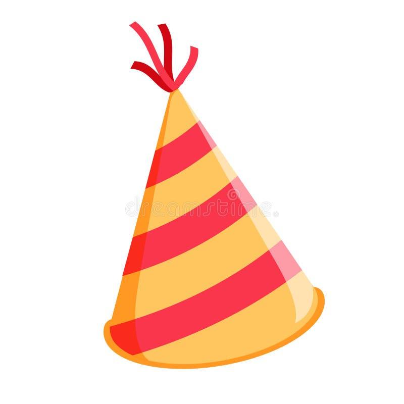 Chapéu do aniversário isolado Lustroso Cone-como o chapéu para a celebração do evento Ilustração do vetor ilustração stock