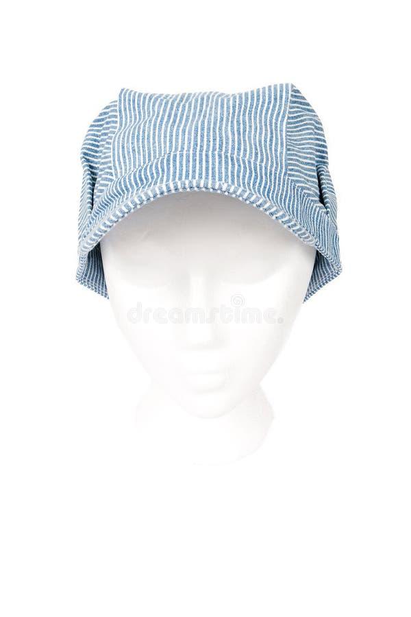 Chapéu do coordenador do trem isolado com trajeto de grampeamento foto de stock