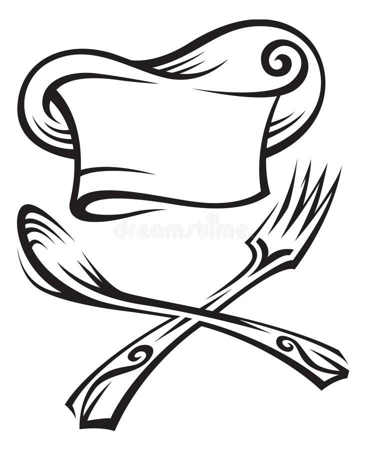 Chapéu do cozinheiro chefe com colher e forquilha