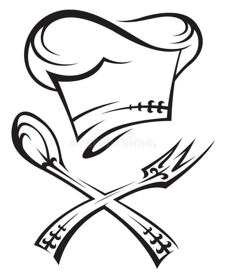 Chapéu do cozinheiro chefe com colher e forquilha ilustração do vetor