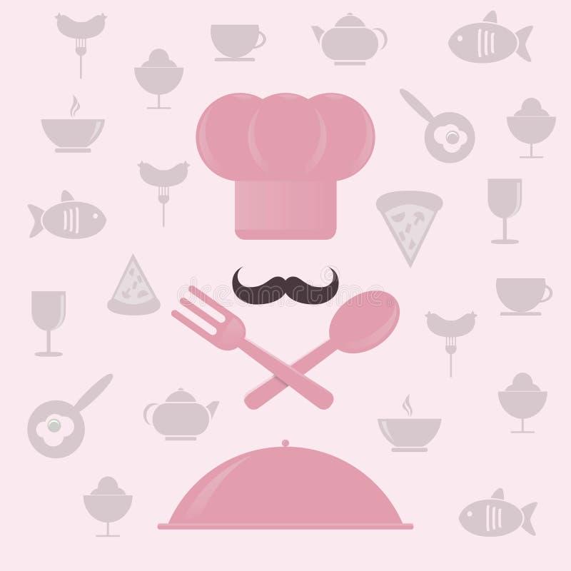 Chapéu do cozinheiro chefe com colher e forquilha ilustração stock