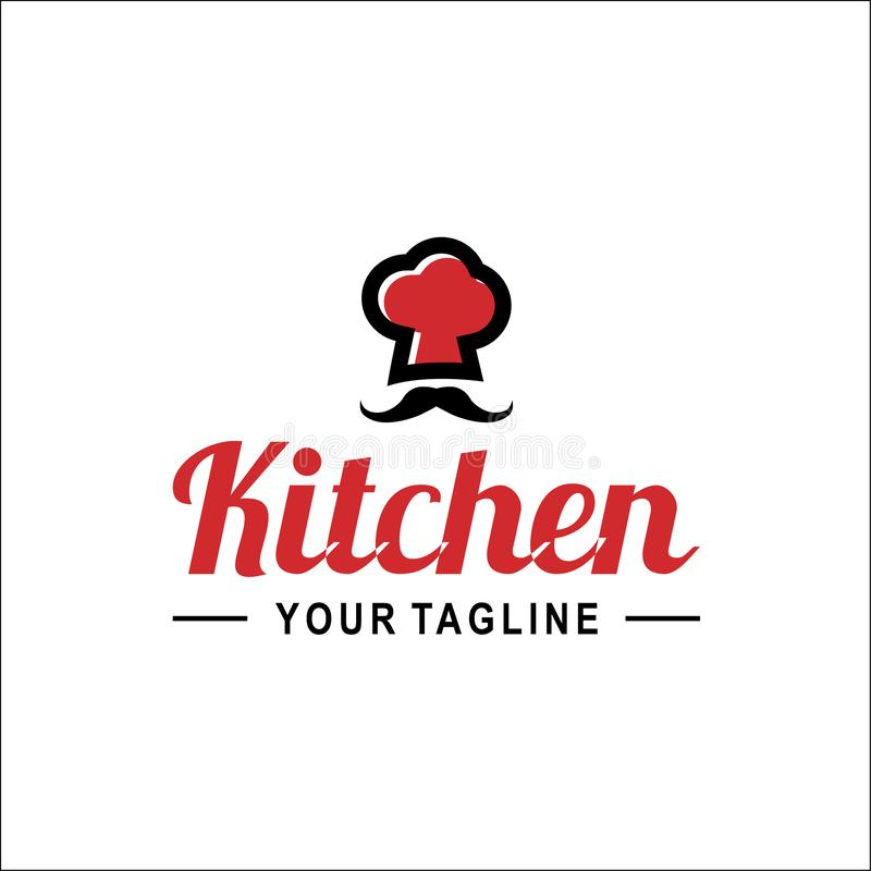 Chapéu do cozinheiro chefe com molde do vetor do logotipo da palavra do cozinheiro chefe ilustração stock