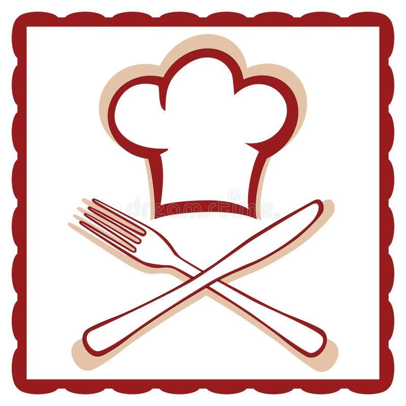 Chapéu do cozinheiro chefe com sinal da faca e da forquilha ilustração royalty free