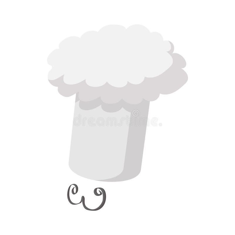 Chapéu do cozinheiro chefe com um ícone do bigode ilustração stock
