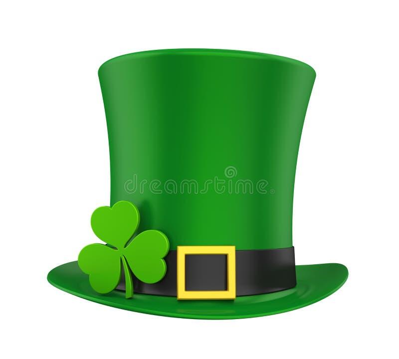Chapéu do dia do ` s de St Patrick com o trevo isolado ilustração royalty free