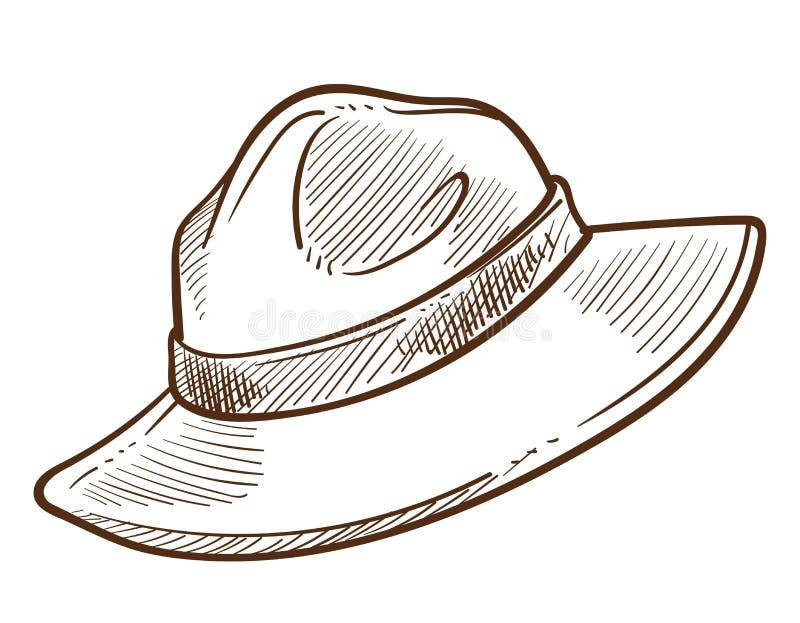 Chapéu do escuteiro ou esboço isolado mantilha montado canadense da polícia ilustração do vetor