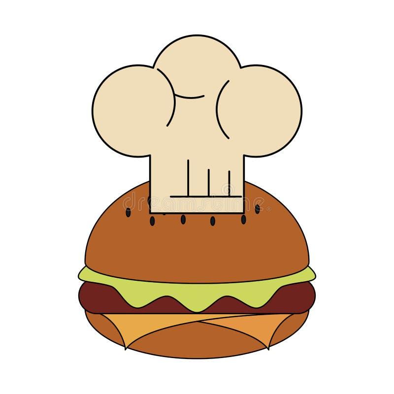 Chap?u do Hamburger e do cozinheiro chefe ilustração stock