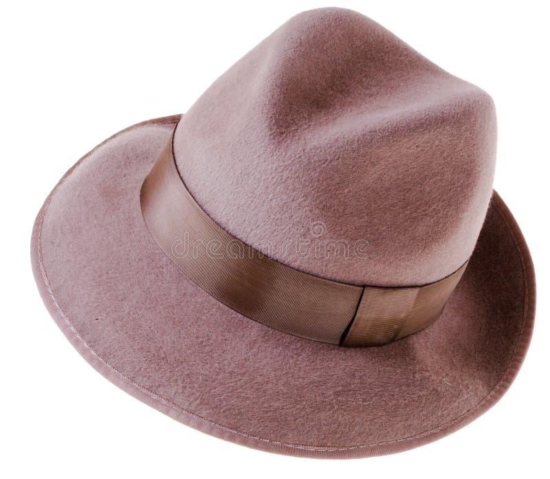 Chapéu do homem clássico de feltro do marrom fotografia de stock