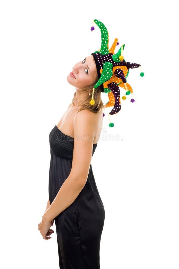 Chapéu do jester da mulher imagem de stock