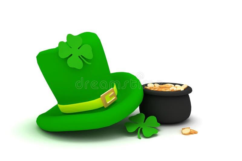 Chapéu do leprechaun do dia do St. Patrick com cl da quatro-folha ilustração do vetor