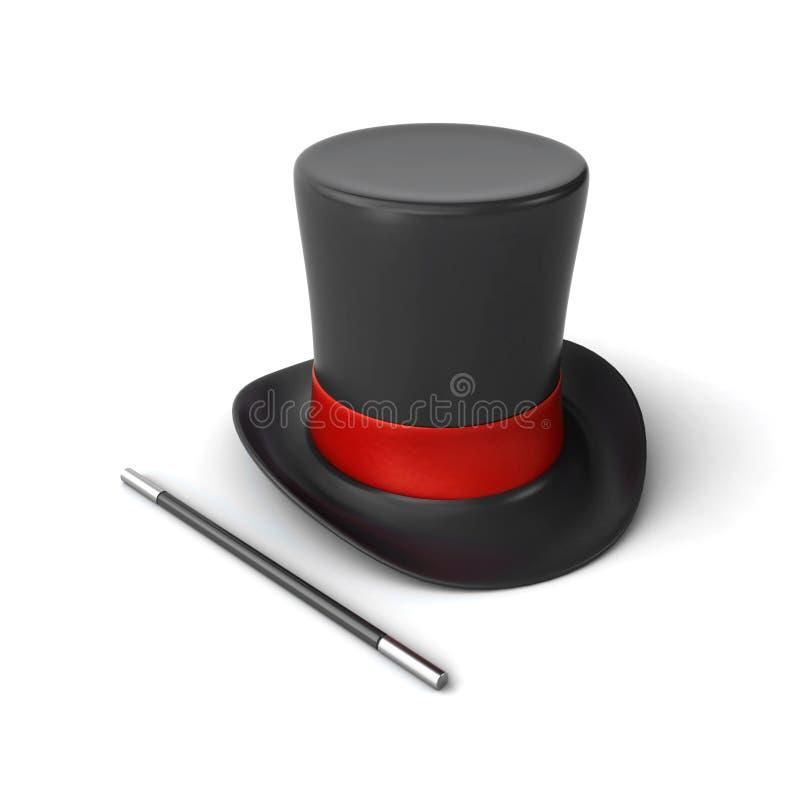 Download Chapéu e varinha do mágico ilustração stock. Ilustração de mágico - 29827941