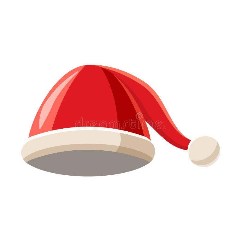 Chapéu do Natal com ícone do pompom, estilo dos desenhos animados ilustração royalty free