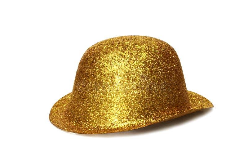 Chapéu do partido do ouro fotografia de stock royalty free