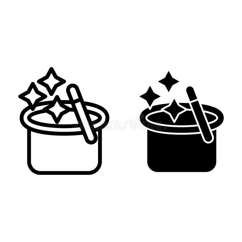 Chapéu do ` s do mágico com uma linha da varinha e um ícone mágicos do glyph O chapéu do ` s do mágico com estrelas vector a ilus ilustração do vetor