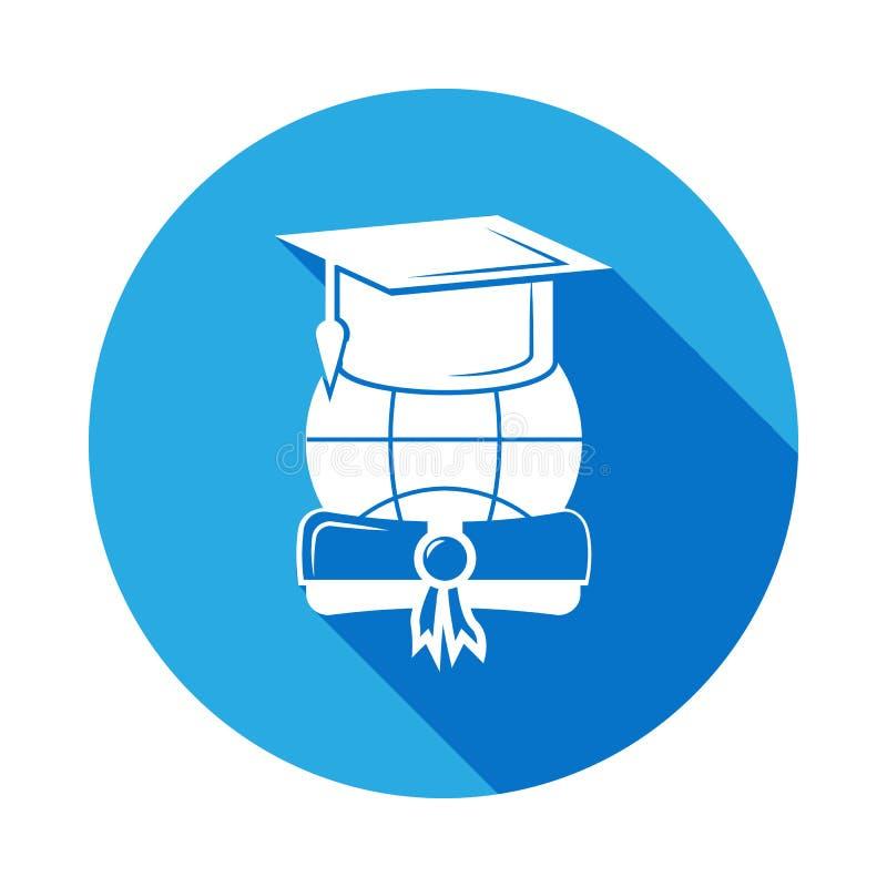 Chapéu do tampão da graduação com ícone do diploma com sombra longa Ícone da graduação do vetor Educação, grau acadêmico Sinais,  ilustração royalty free