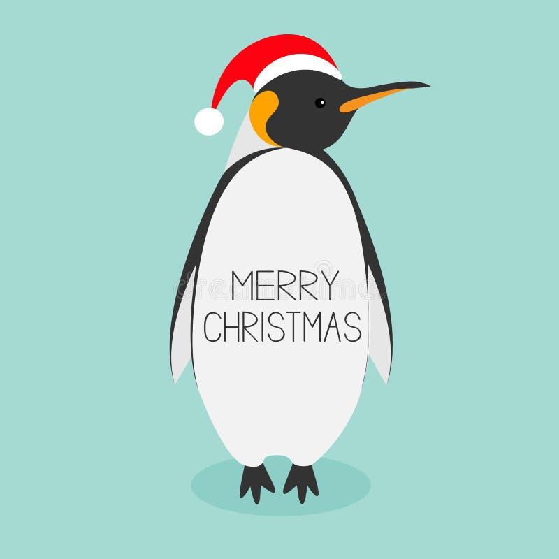 Chapéu do vermelho do rei Penguin Santa ilustração stock