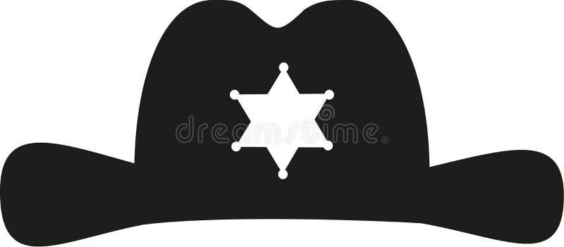 Chapéu do xerife com ícone da estrela ilustração do vetor