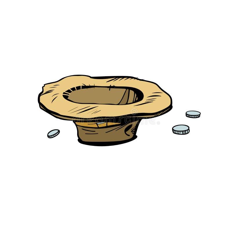 Chapéu dos mendigos para doações ilustração stock